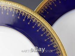 Antique Limoges Bernardaud France COBALT BLUE & GOLD GILDED DINNER PLATES Set 10