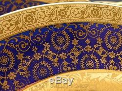 Antique Limoges France COBALT GOLD & GOLD ENCRUSTED DINNER PLATES Set of 12