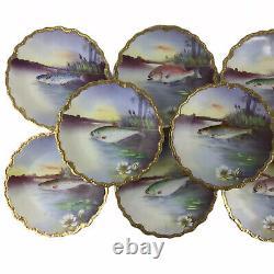 Antique Limoges France L. S. S. Handpainted Porcelain Fish Seafood Plates Set 11