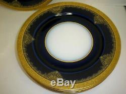 Antique Limoges Plate Set 6 Cobalt Blue Gold Encrusted By William Guerin France