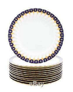 Antique MINTON for Tiffany & Co. Cobalt and Gold Dinner Plates Set of 10