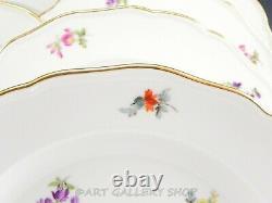 Antique Meissen SCATTERED FLOWERS 9-3/4 DINNER PLATES Crossed Swords Set of 10