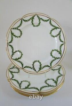 Antique Mintons Green Laurel Garland Bone China Scalloped Plates 9.5 Set 4