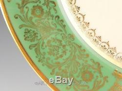 Antique Rosenthal Pickard GREEN GOLD GILDED FLOWER BOUQUET DINNER PLATES Set 11