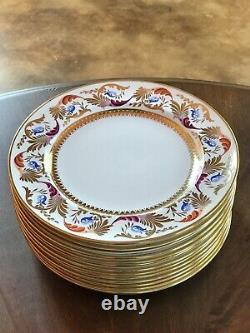 Antique Royal Crown Derby for Tiffany & Co. Gold Dinner Plates Set of 13