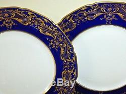 Antique Royal Doulton Set Of 6 Cobalt Raised Gold Encrusted Dinner Plates