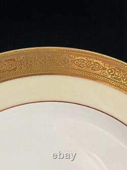 Antique Set 12 LIMOGES FRANCE Tressemann & Vogt DINNER PLATES Gold Encrusted
