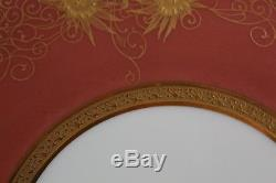 Antique Set 12 W. Guérin Limoges gold encrusted 11 dinner service charger plate