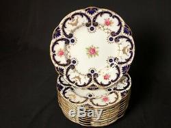 Antique Set of 10 Coalport 10&3/8Scalloped Dinner Plates Cobalt Gold Pink Rose