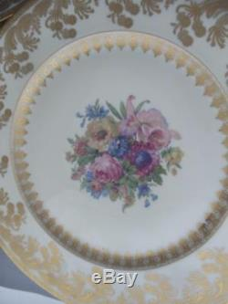 Antique Vtg Selb Bavaria Heinrich & Co. Gold Gilt & Flowers Dinner Plate Set 12