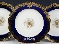 Antique William Guerin Limoges COBALT BLUE GOLD GILDED DINNER PLATES Set of 6