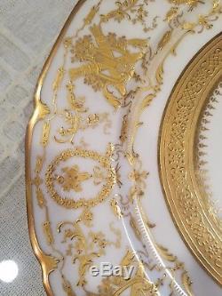 Antique set of 12 William Guérin Limoges gold encrusted 11 dinner plates