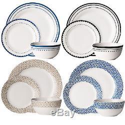 Avie Porcelain Dinner Service 12 24 Piece White Dining Tableware Set Plate Bowl