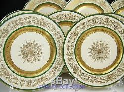Beautiful Antique European Royal Art Guild Dinner Plates Set Of 12