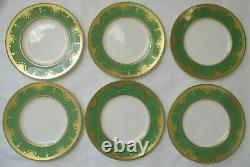 Beautiful Antique Minton Green & Raised Gold Porcelain Dinner Plate Set Of 6