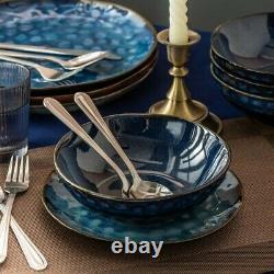 Beautiful Blue 12pcs Set Dinner Stoneware Serving Dish Dessert Plate Cereal Bowl