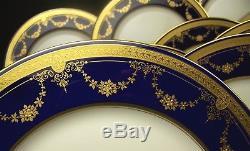 Beautiful Lenox Cobalt Blue Raised Gold Flower Dinner Plates Set Of 12