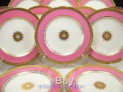 Beautiful Set Of 12 Minton G7215 Davis Collamore Raised Gold Pink Dinner Plates