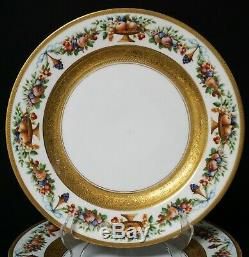 Beautiful Set of 12 Black Knight Gold Encrusted Dinner Cabinet Plates