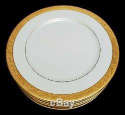 Bernardaud Limoges Gold and White Dinner Plates Plate Set of 8 BER295