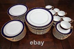 Bernardaud Limoges Palerme Cobalt 59 Piece 12 Place Settings Dinner Salad Plate