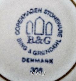 Bing & Grondahl number 308. Set of 18 dinner plates. Grey Cordial Quistgaard