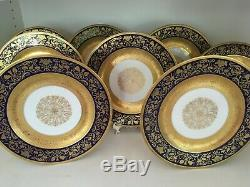 Black Knight BLK87 Cobalt Encrusted Gold Urns Scrolls Dinner Plates (Set 8)