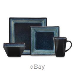 Blue 16pc Square Dinner Ware Set Plate Bowl Dish Washer Microwave Safe 4 Person