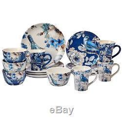 Blue Bird Plate Set Salad Bowl Mug Dish Dinner Kitchen Floral Dinnerware White