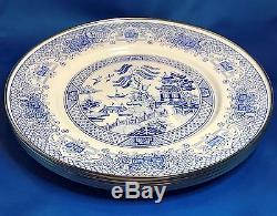 Blue Willow Enamelware 11 Dinner Plate Set of 4 The Golden Rabbit II NOS