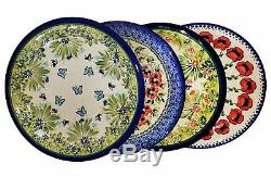 Boleslawiec Polish Pottery UNIKAT 4 Pcs Dinner Plates Set