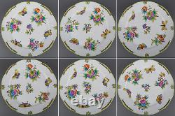Brand New Set of Six Herend Queen Victoria Dinner Plates, 6 Pieces, #524/VBO