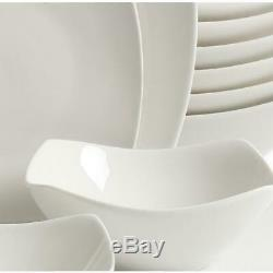Brentwood 40-Piece White Soft Square Dinnerware Set Dinner Plates Dishes Bowls