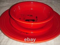 CALVIN KLEIN X FIESTAWARE red SET OF 3 plates + bowl Andy Warhol Dennis Hopper