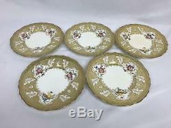 CAULDON England TIFFANY & Co Gold GILT Bright FLOWER 9 Dinner Plate Set of 12