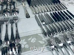 CHRISTOFLE BOREAL Dinner Set Silver plate Flateware Luc LANEL 12 Plc 85 Pcs