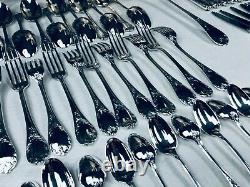 CHRISTOFLE MARLY Flateware Dinner Set Silver plate Louis XV 12 Plc 61 Pcs TOP