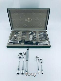 CHRISTOFLE SPATOURS Flateware Dinner Set Silver plate Louis XV 6 Plc 30 Pcs
