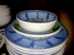 Caleca BLUE MOON Italy Hand Painted Dish Set 32 Pcs Mug Plates Bowls Dinner Soup