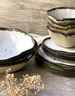 Ceramic Dinnerware Set of Dessert, Dinner Plates and Soup, Serving-Salad Bowl