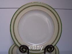 Charles Ahrenfeldt Empire Dinner Plates Set of 11 Green Band Laurel Gold Trim