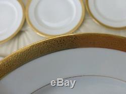 Charles Ahrenfeldt Limoges Raised Gold Encrusted Dinner Plates 9 3/4 Set Of 9