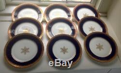 Charles Ahrenfeldt Ovington Bros Cobalt Dinner Plate Snowflake Set/9