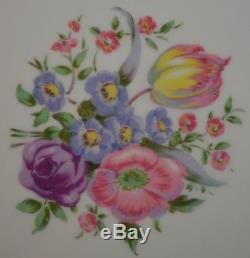 Charles Ahrenfeldt Sevres Porcelain Floral Dinner Plates Set of 12