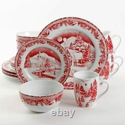 Christmas Thanksgiving Winter Holidays 16 Piece Dinnerware Set Service for 4 Red