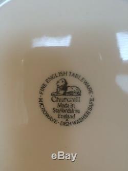 Churchill WILLOW BLUE (Georgian Shape) Dinner Plates England Set of 10