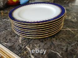 Coalport Spearpoint Cobalt Blue Gilt Dinner Plates Set Of 8