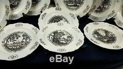 Complete 12 Wedgwood Colonial Williamsburg 1950 Restoration Plate Set Ex Cdn