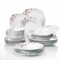 Complete 24-Pcs Dinner Set Crockery Dining Plates Bowls Dinnerware for 6 People