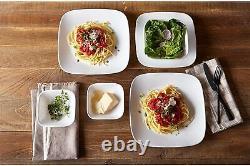 Corelle 24 Pc Dinnerware Set Square Dinner Plates Dish Service For 6 Vivid White